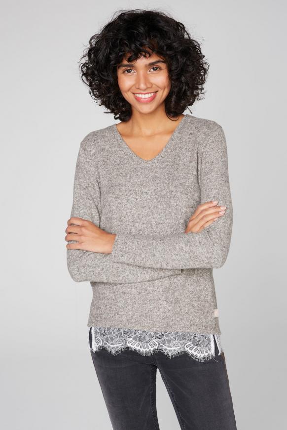 Pullover mit Spitzensaum wooden melange
