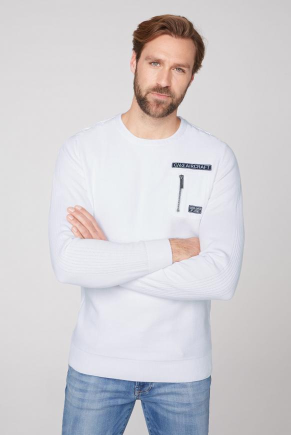 Pullover mit Strickmustern und Tasche opticwhite