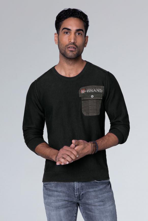 Pullover mit Tasche und Back Artwork charcoal