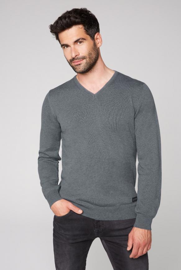 Pullover mit V-Neck granite melange