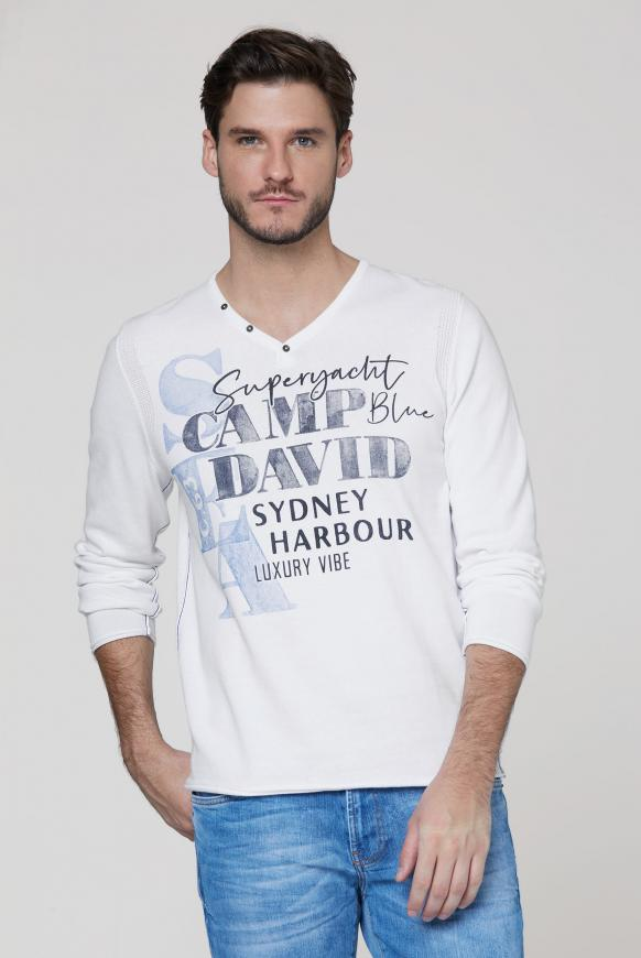 Pullover mit V-Neck und Watercolour Print opticwhite
