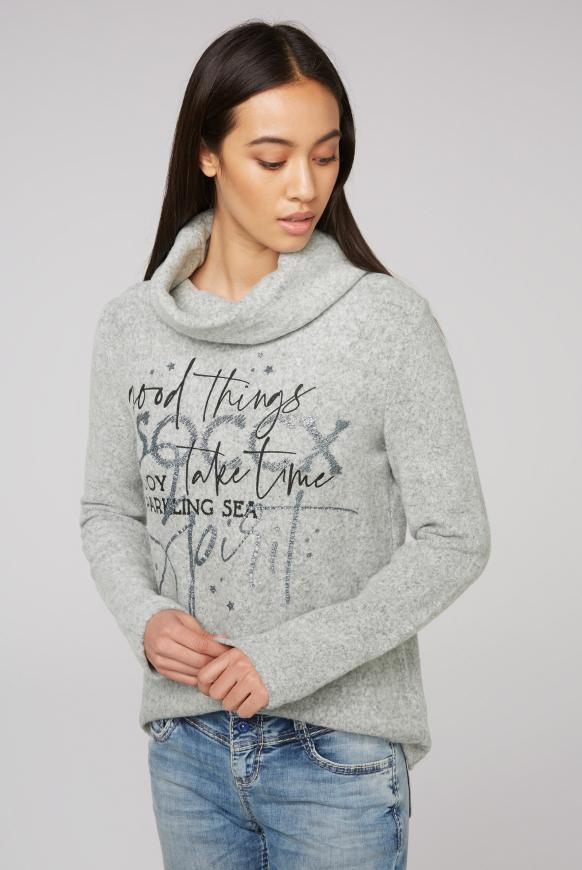 Pullover mit weitem Rollkragen und Print grey melange