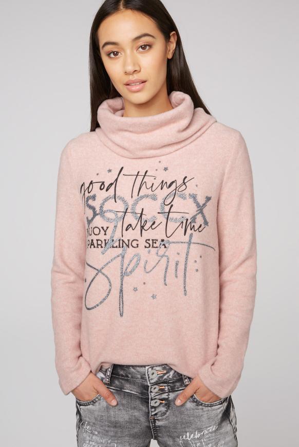 Pullover mit weitem Rollkragen und Print rose melange
