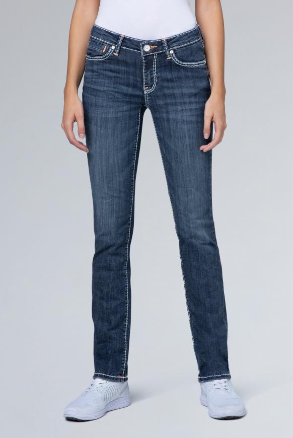 Regular Fit Jeans RO:MY mit weißen Nähten dark used vintage