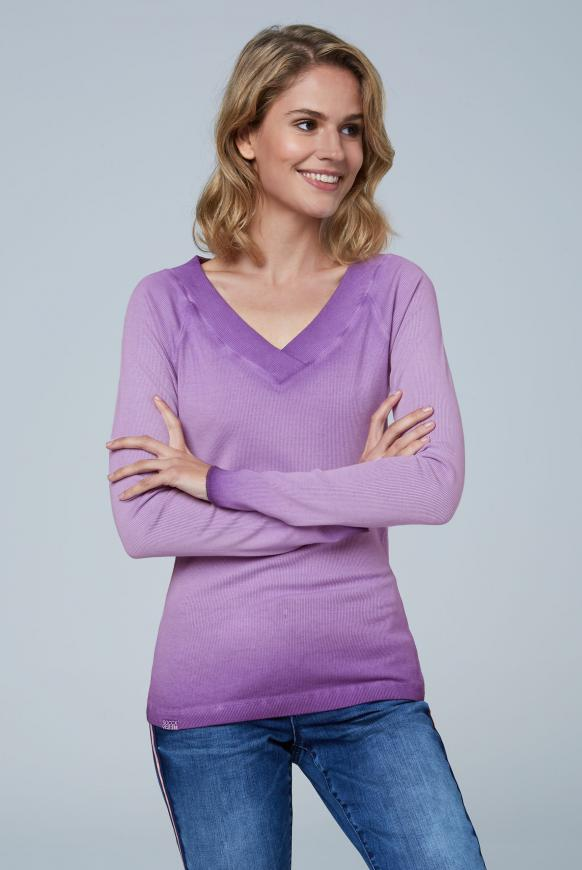 Rippshirt Inside Oil Dyed mit V-Ausschnitt bright purple