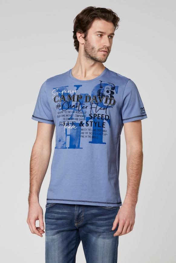 Rundhalsshirt mit Label-Applikationen blue dawn
