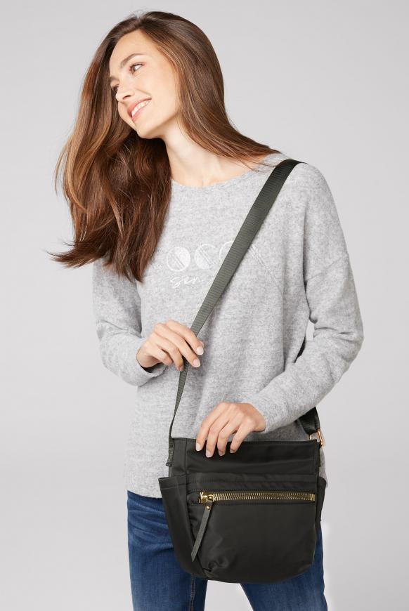 Schultertasche aus Nylon mit Zipper-Fächern black