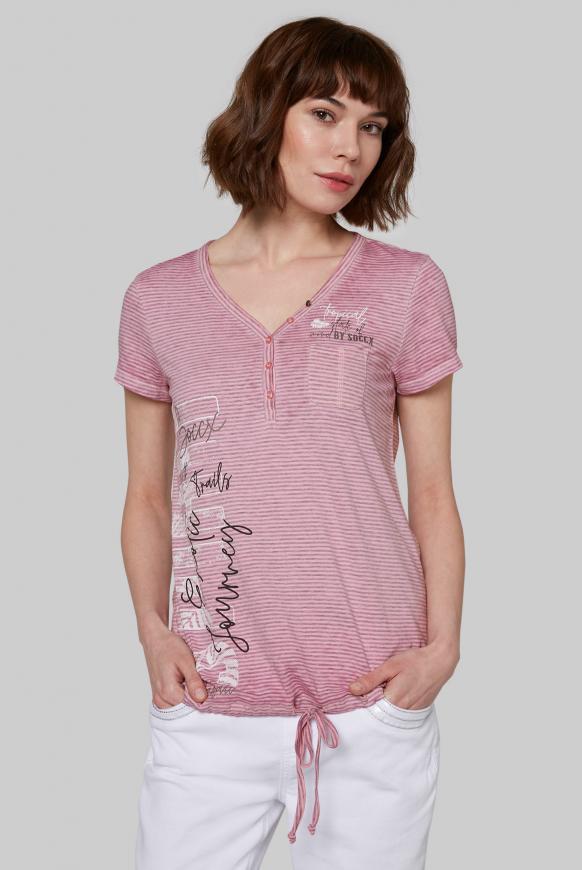 Serafino-Shirt mit Streifen und Burnouts lush rose