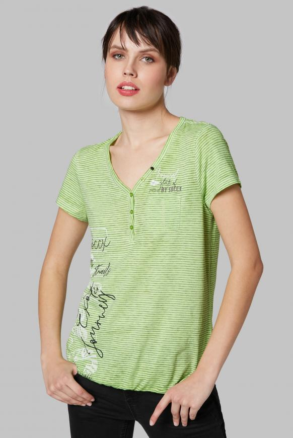 Serafino-Shirt mit Streifen und Burnouts lemon drop