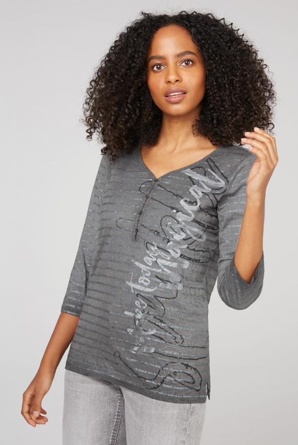 Serafino-Shirt Oil Dyed mit Glitter-Streifen grey phantom