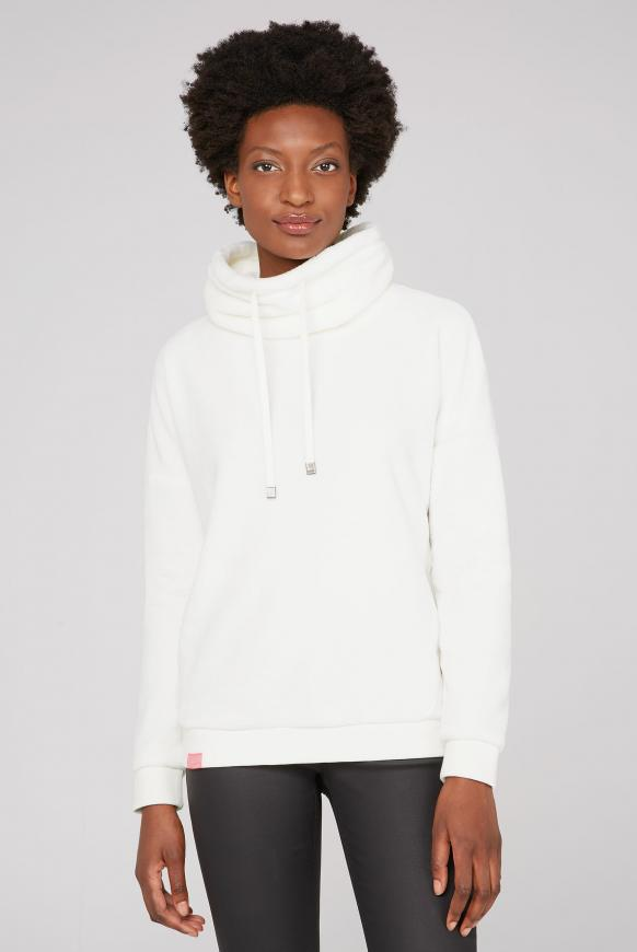 Sherpamix-Sweatshirt mit Rücken-Artwork ivory