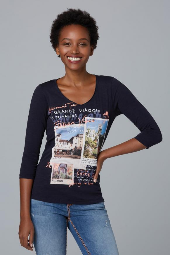 Shirt mit 3/4-Arm und Artwork dark blue
