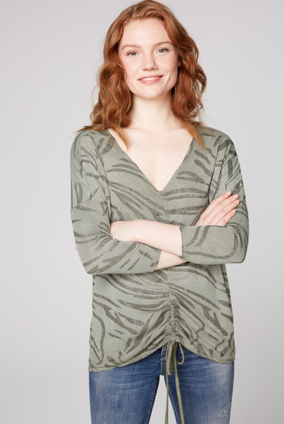 Shirt mit Raffung und All Over Glitter Print mellow olive