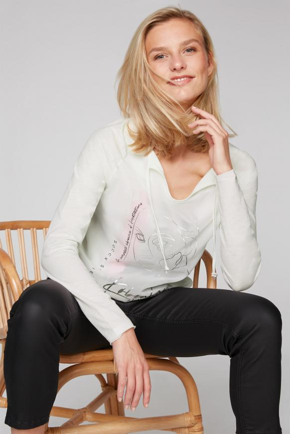 Shirt mit Tüll-Layering und Artwork ivory