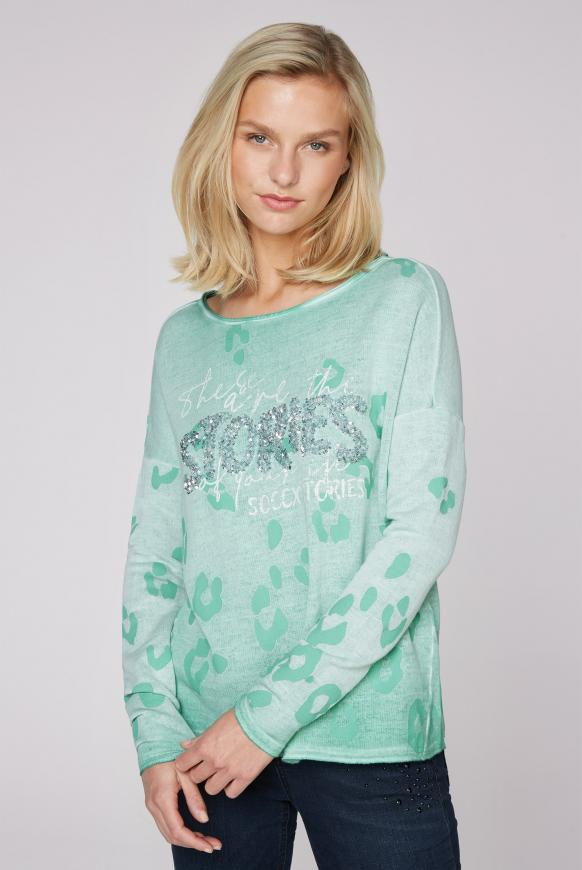 Shirt mit U-Boot-Ausschnitt und Artwork frosty mint