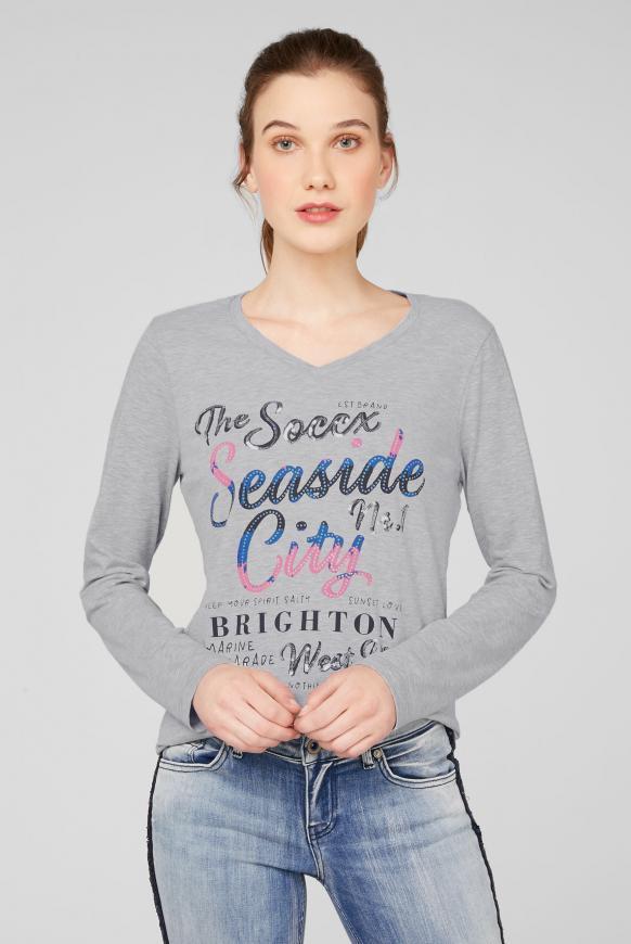 Shirt mit V-Ausschnitt und Logo Artwork grey melange