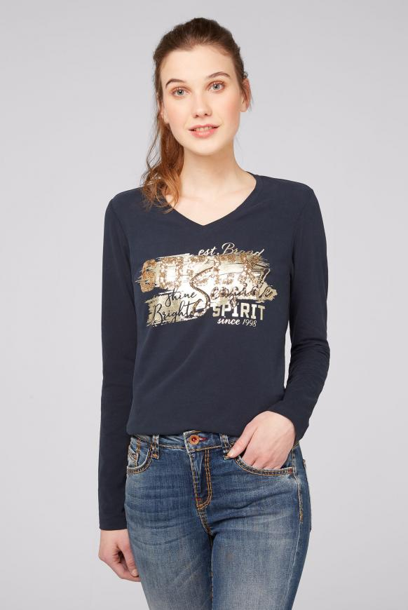 Shirt mit V-Ausschnitt und Logo Artwork nautic navy