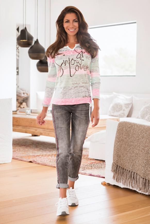 Shirt mit Wording Print und Bindeband-Saum multi color