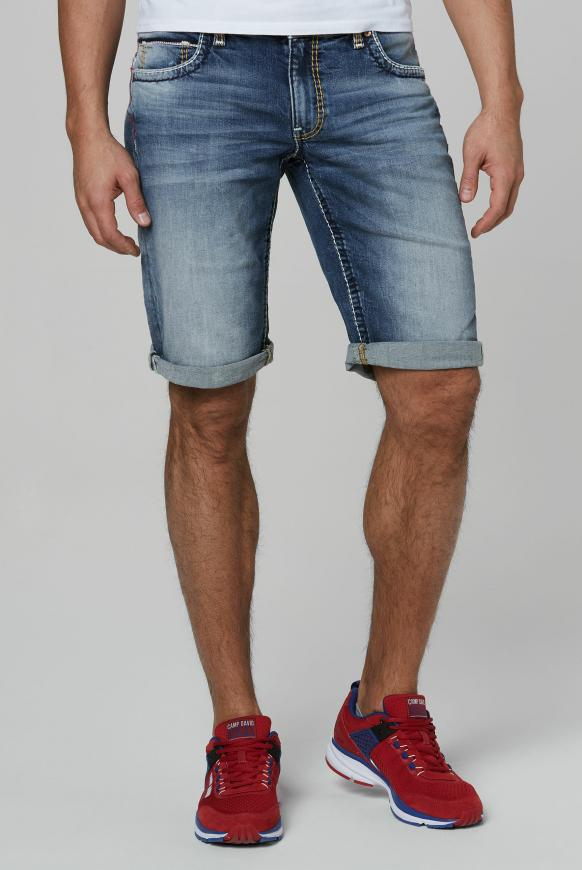 Skater Jeans CO:NO mit bunten Nähten vintage used