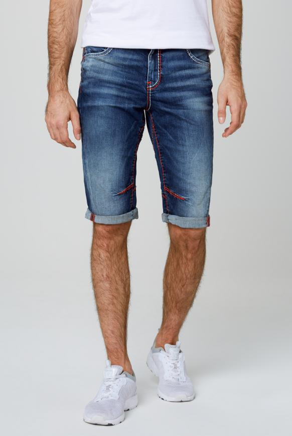Skater Shorts JA:CK mit farbigen Nähten dark used
