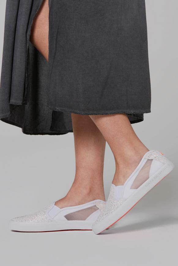 Sneaker im Ballerina-Stil mit Mesh-Einsätzen ivory