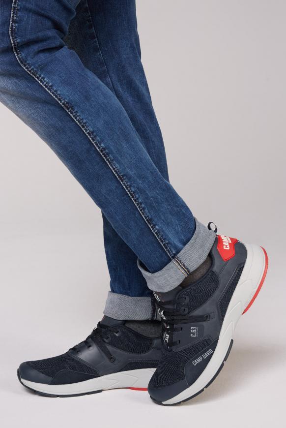 Sneaker mit Knit-Struktur und Logos blue navy