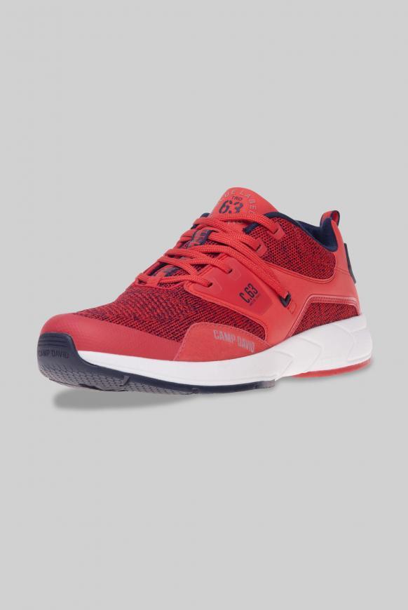 Sneaker mit Knit-Struktur und Logos speed red
