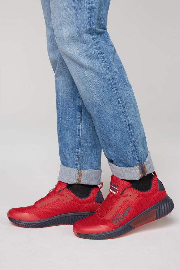 Sneaker mit Streifen-Design und Meshstruktur shark red