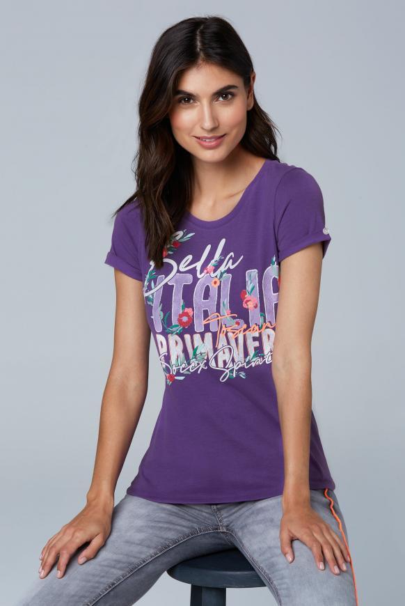 Softes T-Shirt mit Frontprint bright purple