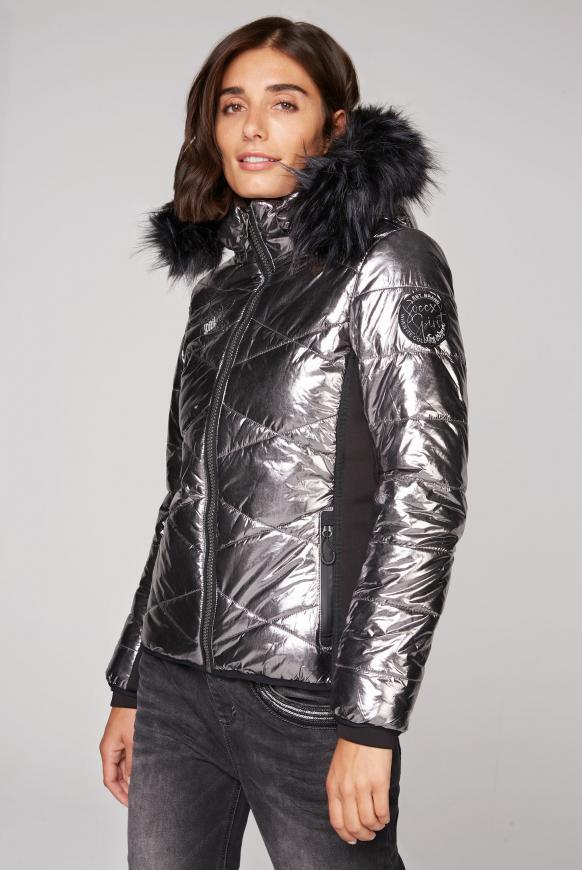 Steppjacke im Ski-Design mit Metallic Look silver