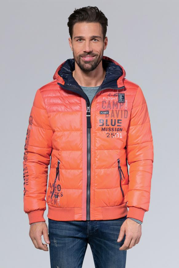 Steppjacke mit Kapuze und Artworks mission orange