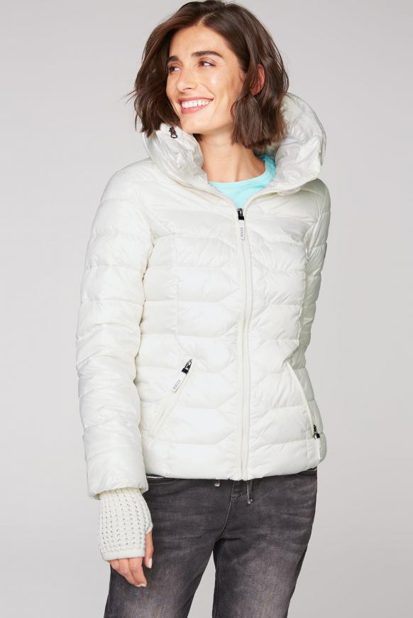 Steppjacke mit Strickbündchen snow white