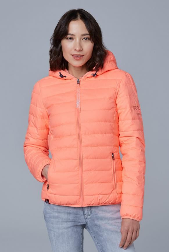 Steppjacke mit Teddyfutter und Back Print neon orange