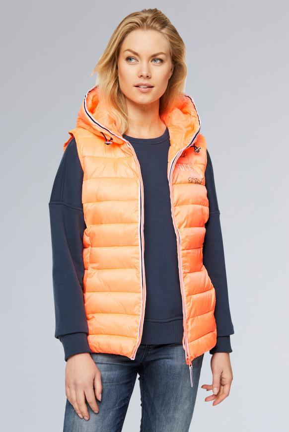 Steppweste mit Kapuze und Back Print intense orange