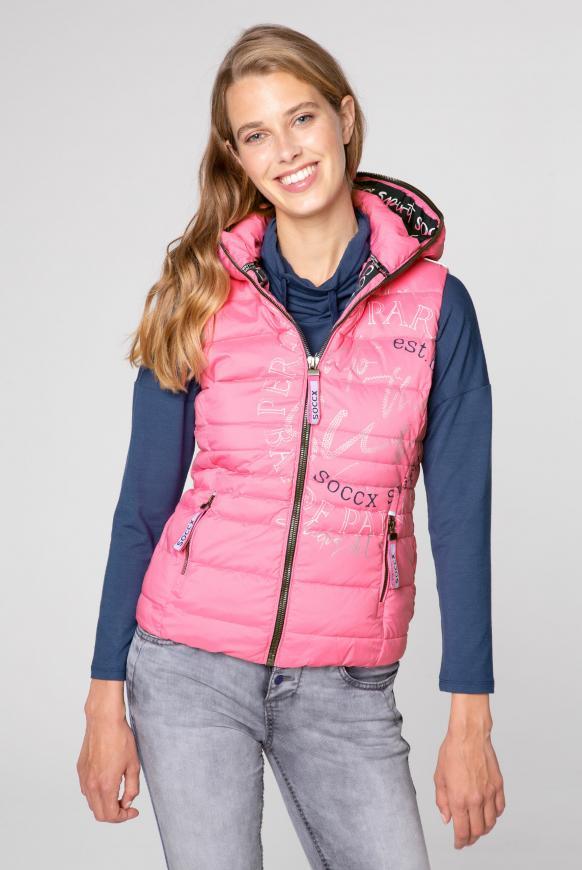Steppweste mit Kapuze und Label Prints pink lemonade