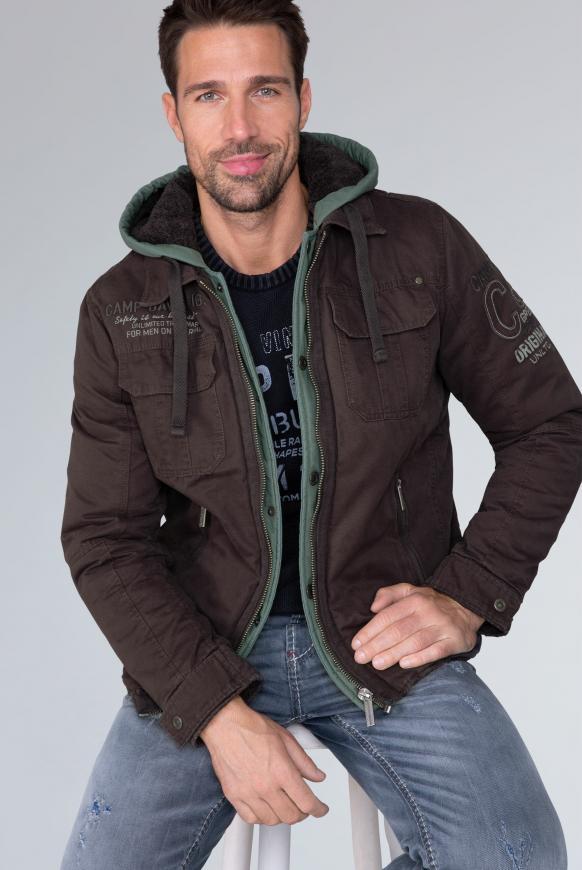 camp david - Stone Washed Jacke mit Kontrastkapuze Farbe : charcoal ,  Größe:  L