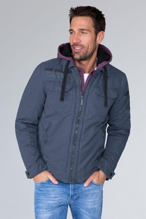 camp david - Stone Washed Jacke mit Kontrastkapuze Farbe : blue navy ,  Größe:  S