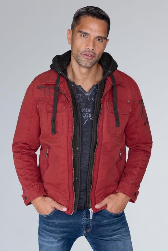 camp david - Stone Washed Jacke mit Kontrastkapuze Farbe : maroon red ,  Größe:  XXL