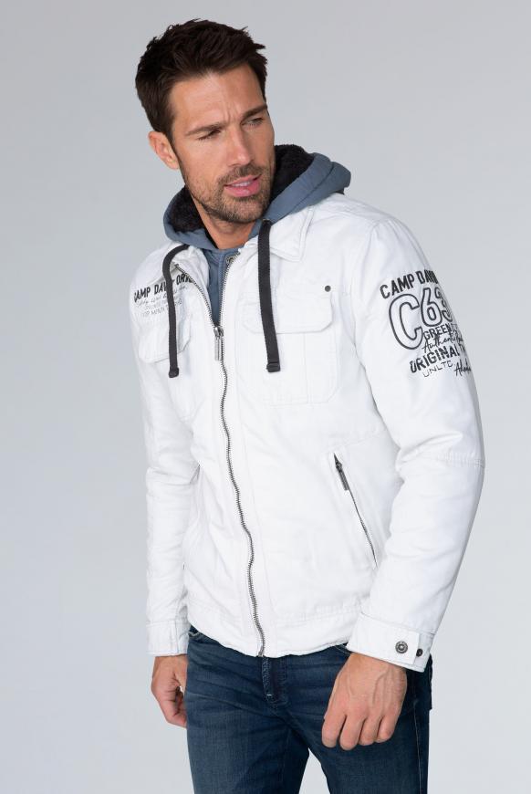 camp david - Stone Washed Jacke mit Kontrastkapuze Farbe : kitt ,  Größe:  S