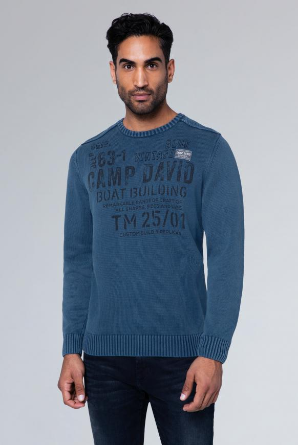 Stone Washed Pullover mit Artwork haze blue