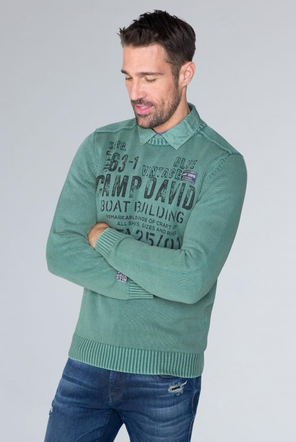 Stone Washed Pullover mit Artwork ocean green