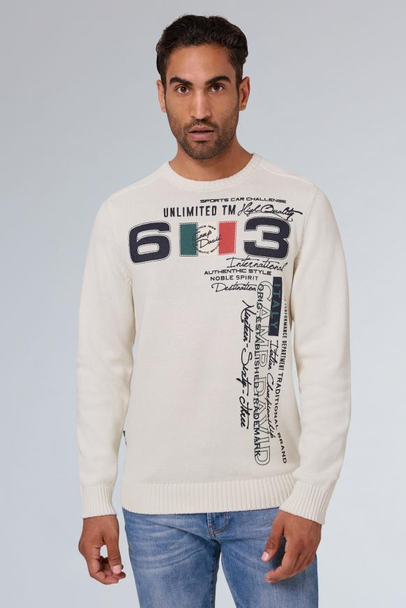Stone Washed Pullover mit Label Print ivory