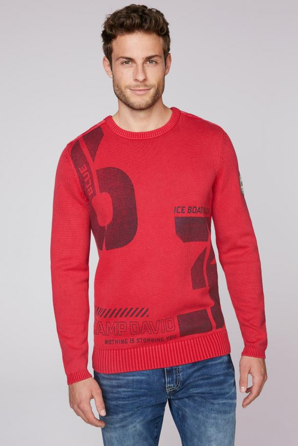 Stone Washed Pullover mit Label Print speed red