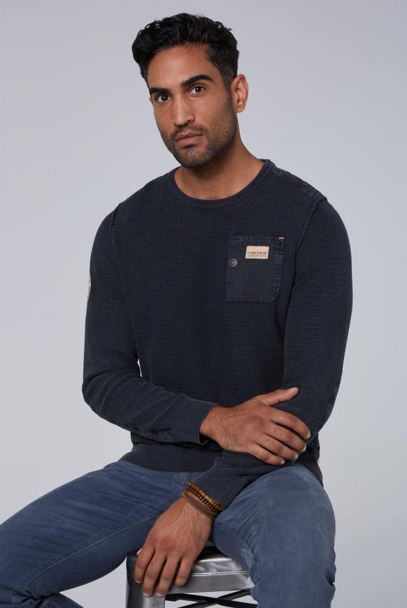 Stone Washed Pullover mit Twill-Besätzen blue navy