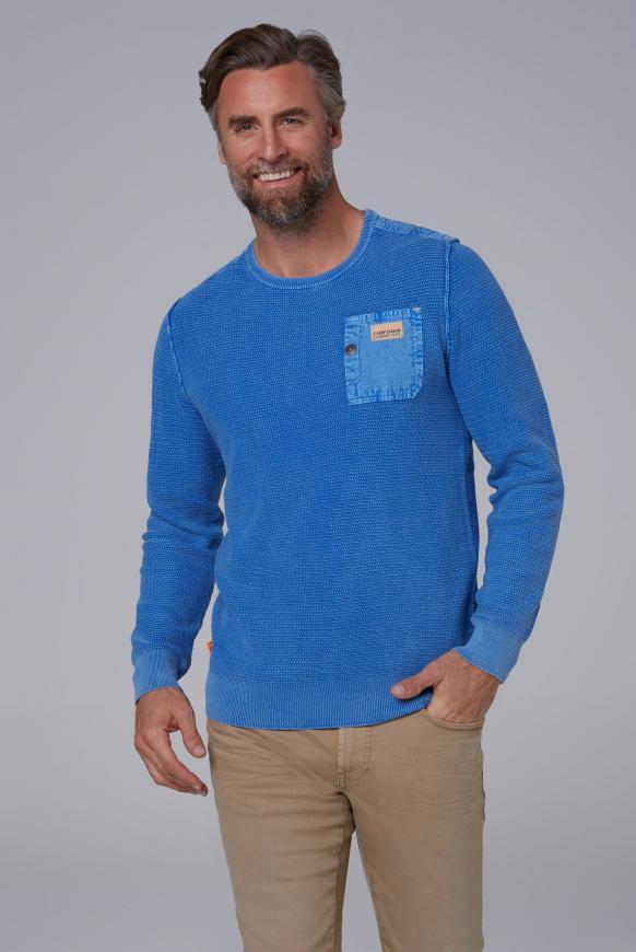 Stone Washed Pullover mit Twill-Besätzen sky blue