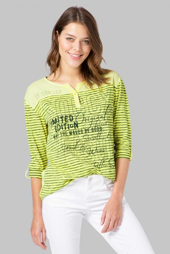 Streifenshirt im Materialmix neon yellow