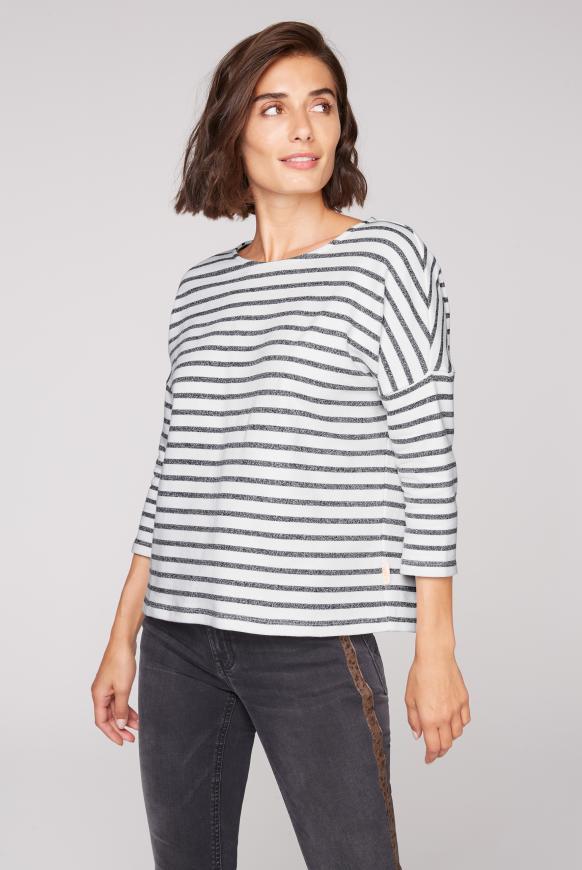 Streifenshirt mit 3/4-Arm cotton white / black