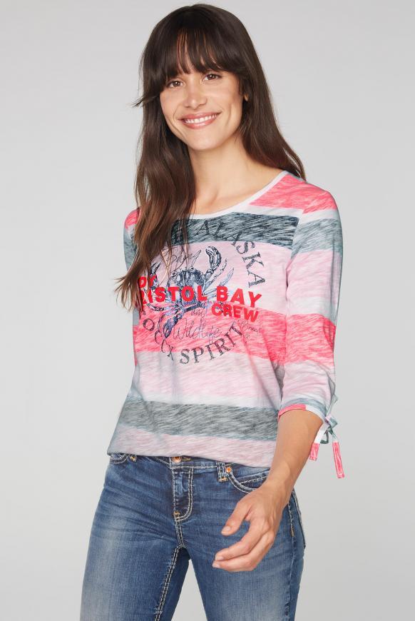 Streifenshirt mit 3/4-Arm und Print multi color