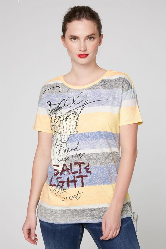 Streifenshirt mit Artwork und Zugband im Saum multi color
