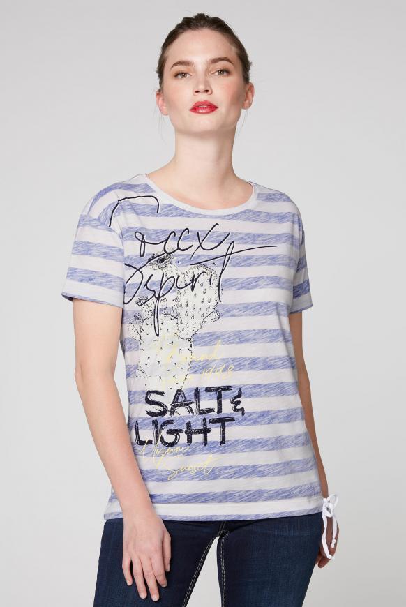 Streifenshirt mit Artwork und Zugband im Saum opticwhite